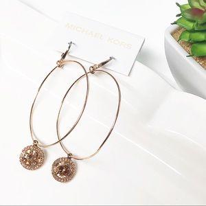 Michael Kors Rose Gold Charm Hoop Earrings